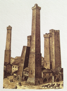 Photo of Due Torri (Two Towers) in the heart of Bologna, Italy